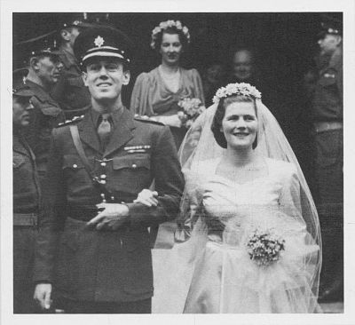 The wedding day of Christopher and Mary Soames, 1947