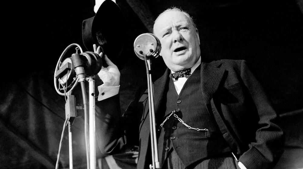 Winston Churchill giving a speech.