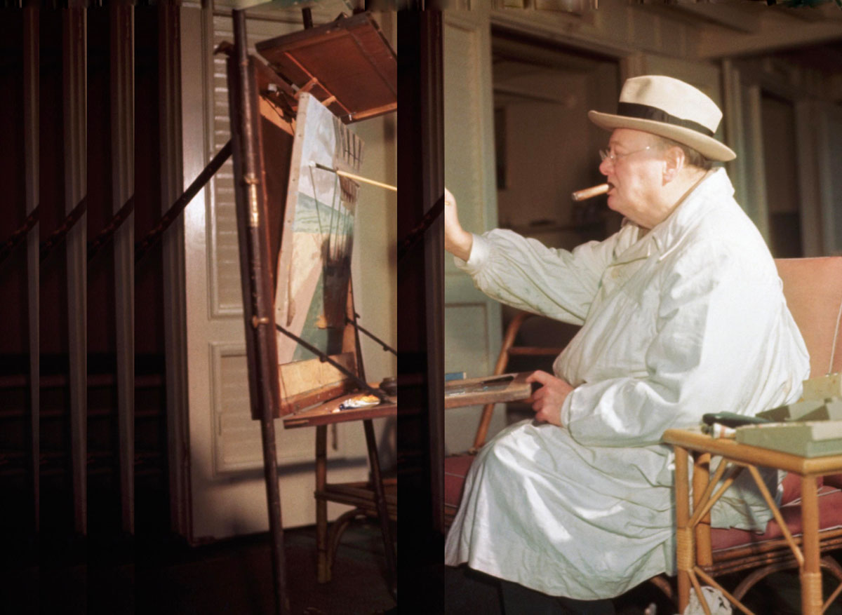 Winston Churchill at his easel
