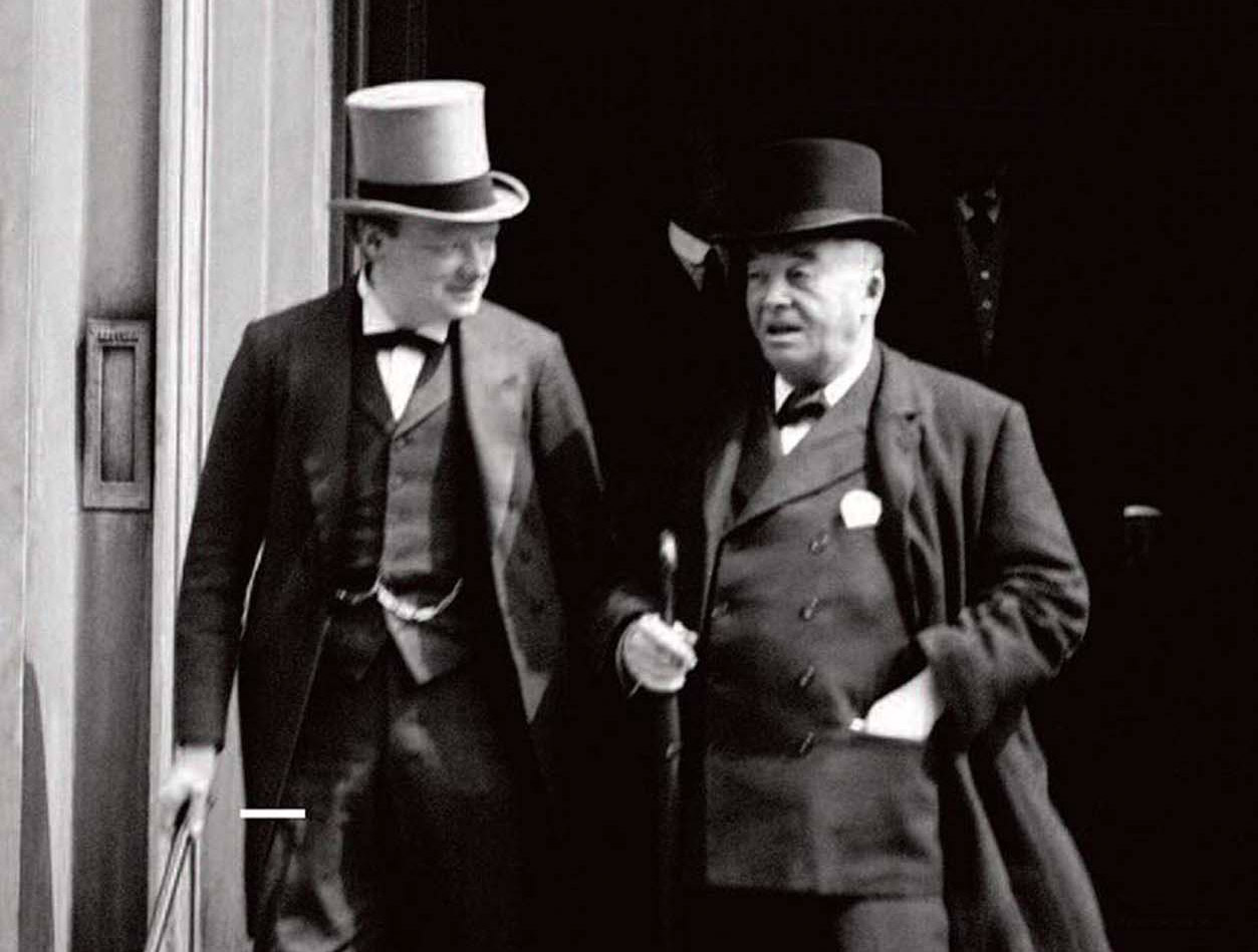 Winston Churchill and Admiral Lord Fisher leaving a meeting of the Committee of Imperial Defence in 1913, Wikimedia Commons